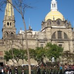 Mexico Flag Day Army Band in front of Guadalajara's Cathedral