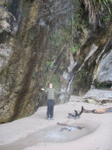 Waterfall at Cathedral Cove