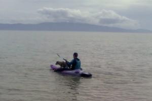Tazmin on the kayak at Whakatete Bay