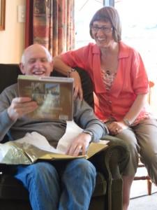 Colin and Liz Wharton open a present