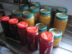 Plum jam and peach preserves in New Zealand